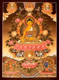 There are many beautiful thangka paintings of the Buddha