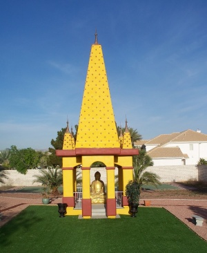 A unique replica at Maha Bodhi Las Vegas with burgundy and yellow-gold colors